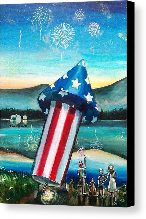 Firework Canvas Print featuring the painting Grand Finale by Shana Rowe Jackson