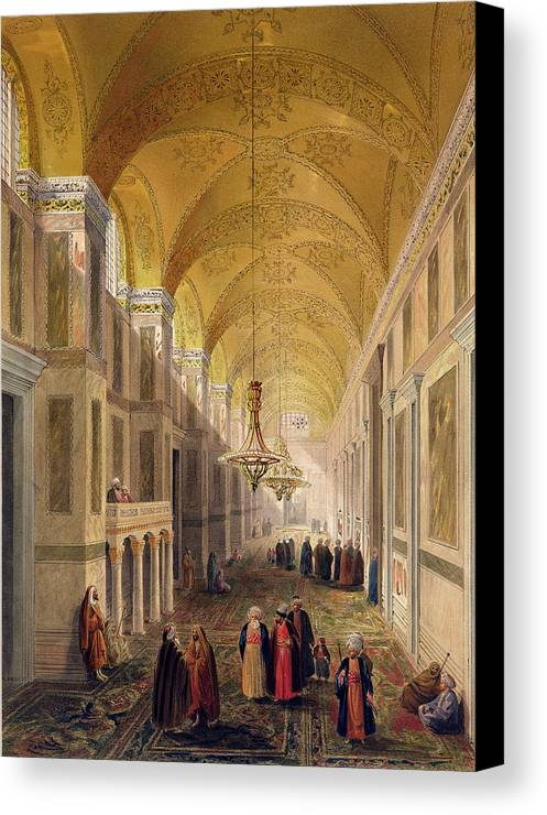 Corridor Canvas Print featuring the drawing Haghia Sophia, Plate 2 The Narthex by Gaspard Fossati