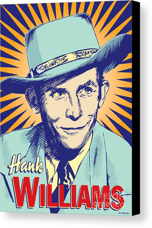 Country And Western Canvas Print featuring the digital art Hank Williams Pop Art by Jim Zahniser