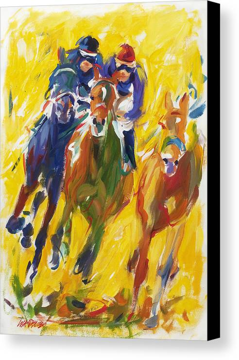 Horse Canvas Print featuring the painting Home Stretch #1 by Lisa Palombo