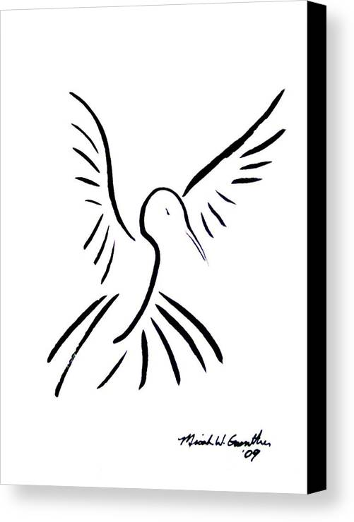 Bird Canvas Print featuring the drawing Hummingbird by Micah Guenther