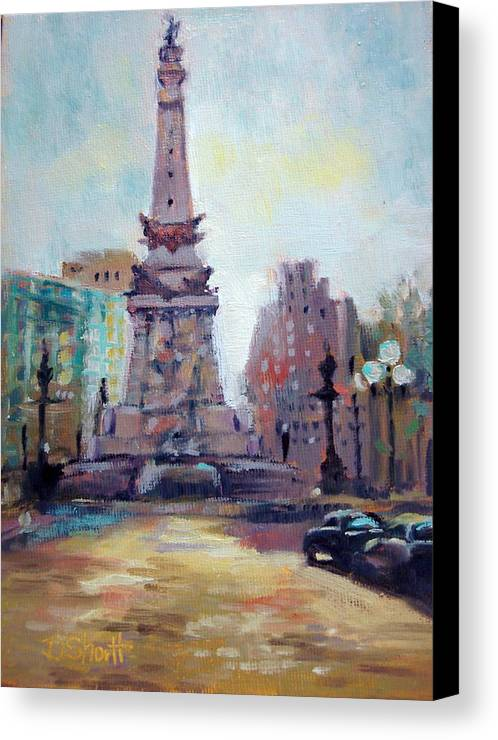 Indianapolis Canvas Print featuring the painting Indy Circle Back-lit by Donna Shortt