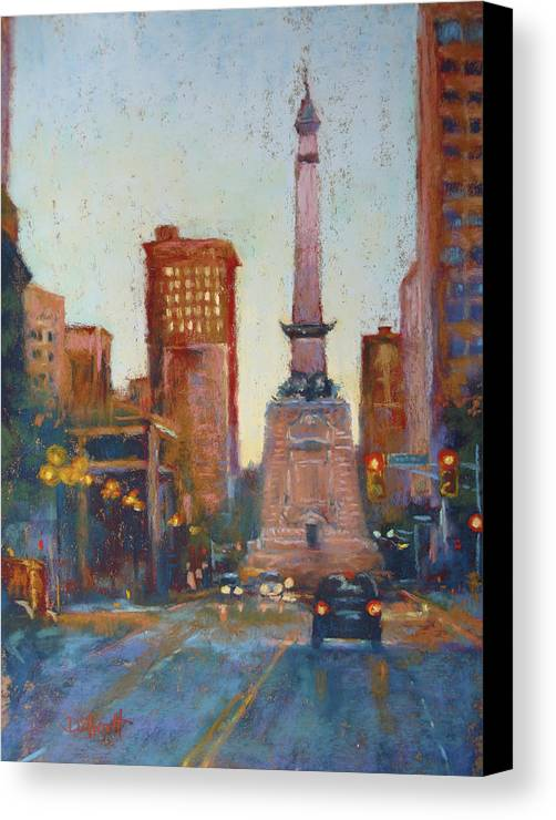 Indianapolis Canvas Print featuring the painting Indy Circle- Twilight by Donna Shortt