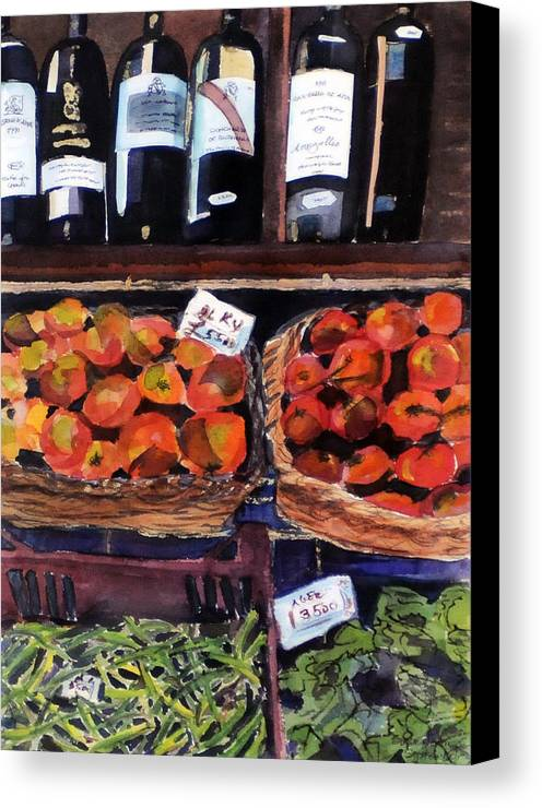 Wine Canvas Print featuring the painting Italian Market by Susie Jernigan