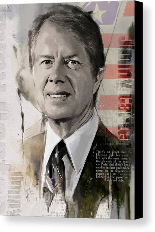 Jimmy Carter Canvas Print featuring the painting Jimmy Carter by Corporate Art Task Force