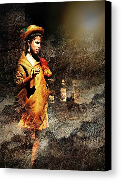 Portrait Canvas Print featuring the photograph Lonely Girl by Diana Angstadt