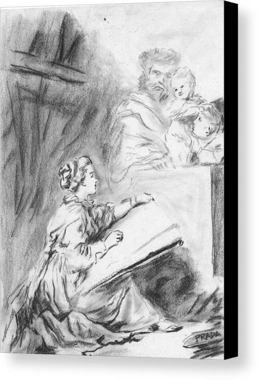 Charcoal Canvas Print featuring the drawing Marguerite Gerard Sketching by Horacio Prada