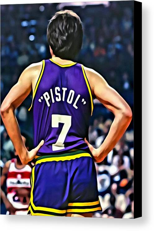 Pete Maravich Canvas Print featuring the painting Pete Maravich by Florian Rodarte