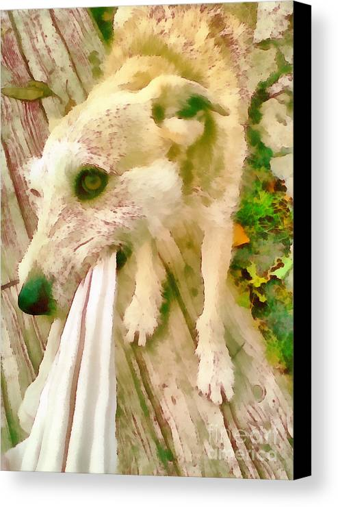 Abstract Canvas Print featuring the painting Playing Dog Portrait by Odon Czintos
