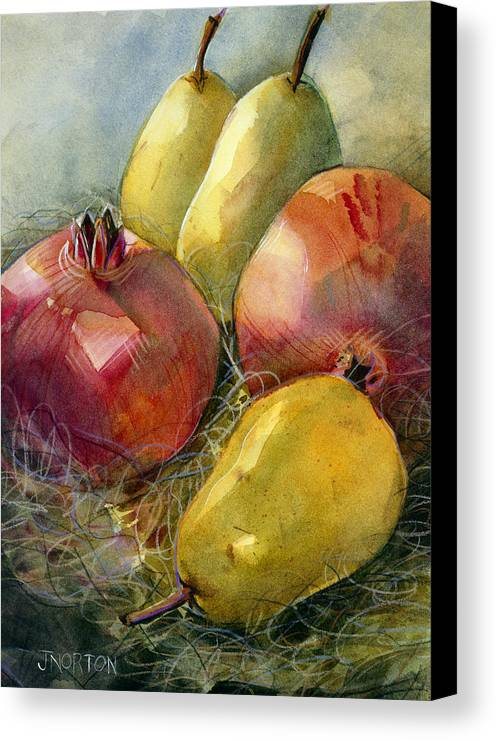 Jen Norton Canvas Print featuring the painting Pomegranates And Pears by Jen Norton