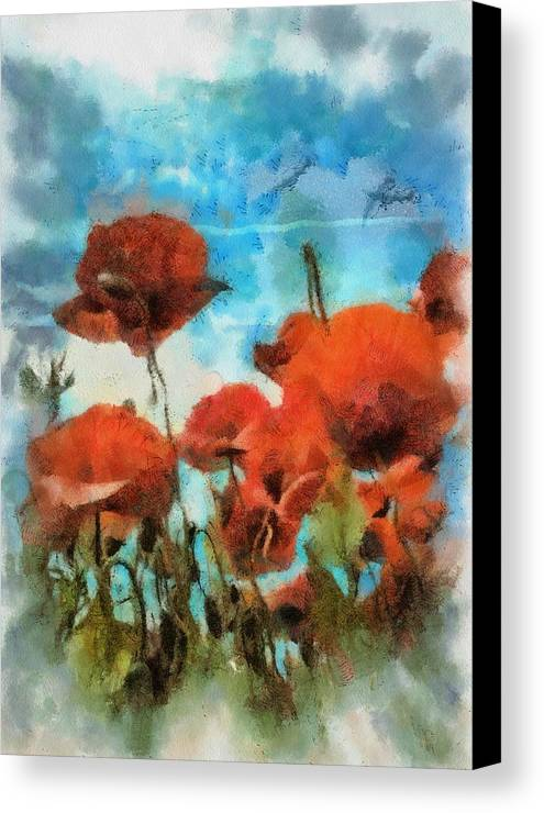 Agriculture Canvas Print featuring the painting Poppies by Kvetoslava Stikovcova