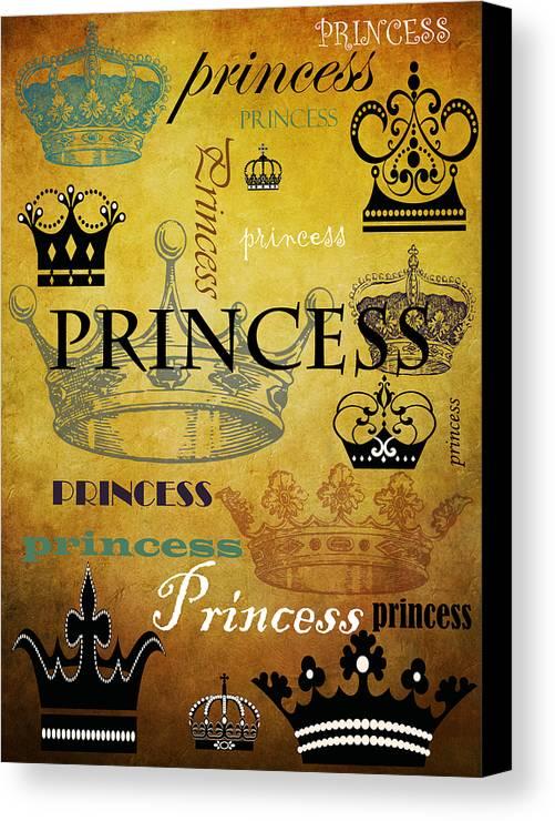 Princess Canvas Print featuring the mixed media Princess 1 by Angelina Vick