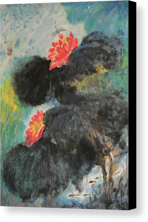 Chinese Brush Canvas Print featuring the painting Quiet Floral by Min Wang