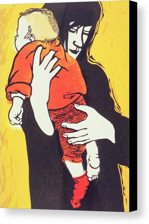 Mother; Child; Embrace; Protection Canvas Print featuring the painting Red Sock by Carol Walklin