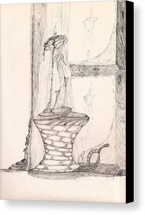 Pen And Ink Canvas Print featuring the drawing Reflections... by Robert Meszaros