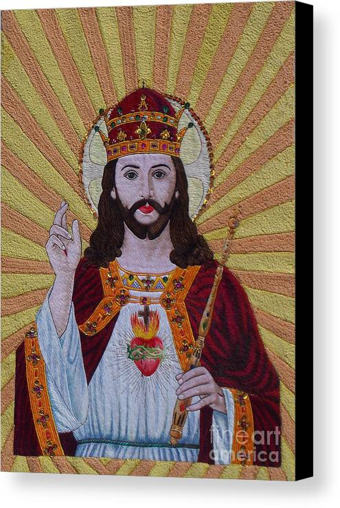Autism Canvas Print featuring the tapestry - textile Sacred Heart Of Jesus Hand Embroidery by To-Tam Gerwe