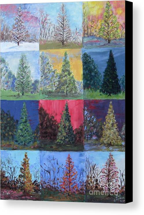 Trees With Different Backgrounds Canvas Print featuring the painting Seasons Of A Dawn Redwood - Sold by Judith Espinoza
