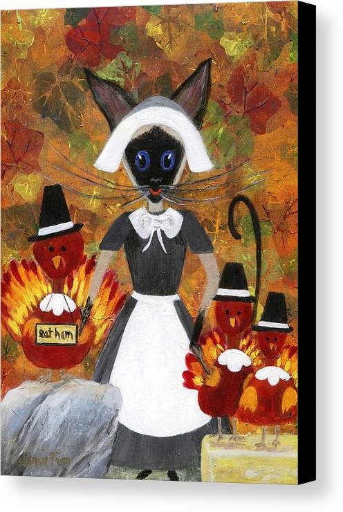Siamese Canvas Print featuring the painting Siamese Queen Of Thanksgiving by Jamie Frier