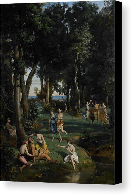 God; Goddess; Goddesses; Landscape; Idyllic; Stream; Idyll; Courting; Courtship; Mythological; Ancient Canvas Print featuring the painting Silenus by Jean Baptiste Camille Corot