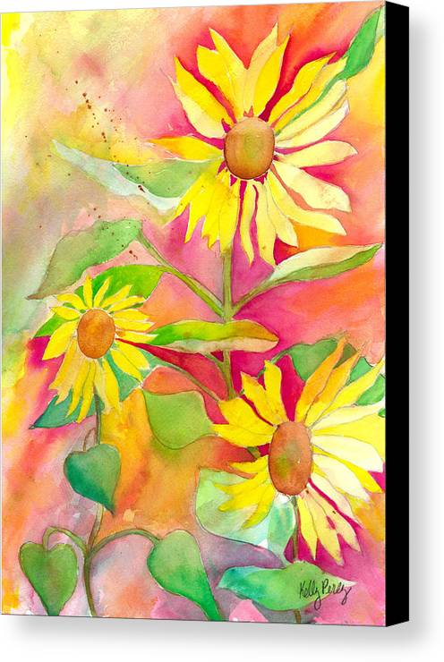 Watercolor Painting Canvas Print featuring the painting Sunflower by Kelly Perez