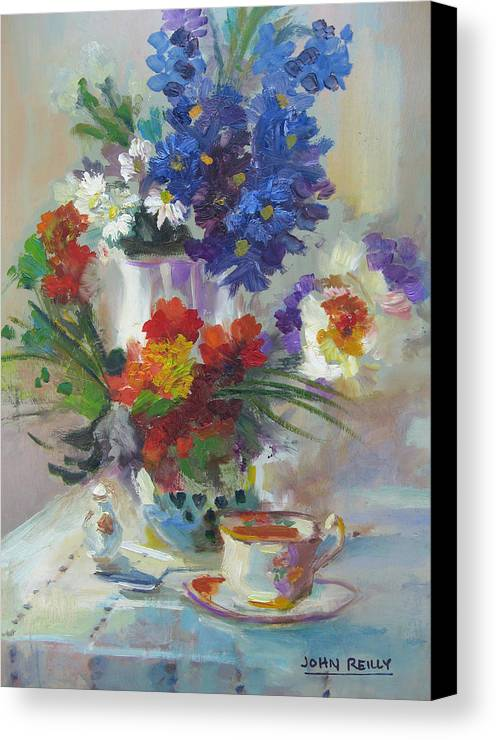 Still Life Canvas Print featuring the painting Tea Time by John Reilly