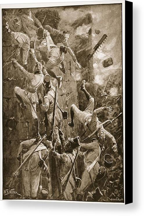 British Army Canvas Print featuring the drawing The 5th Division Storming By Escalade by William Barnes Wollen