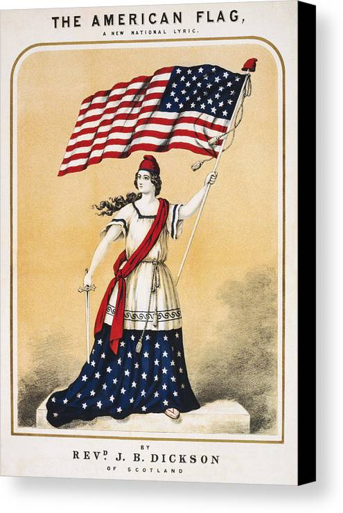 Entertainment Canvas Print featuring the drawing The American Flag A New National Lyric by Aged Pixel