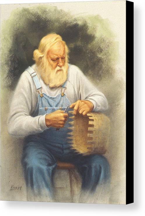 Bearded Man Canvas Print featuring the painting The Basketmaker In Pastel by Paul Krapf