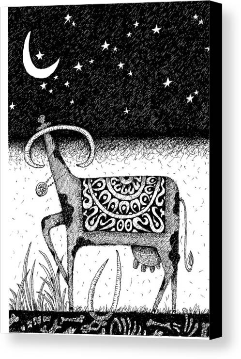Stars Canvas Print featuring the drawing The Constellation Of A Cow by Victor Koryagin