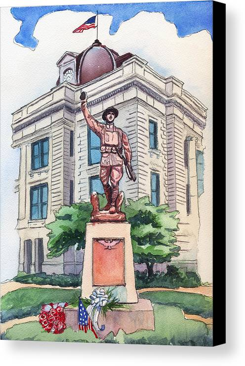 Doughboy Statue Canvas Print featuring the painting The Doughboy Statue by Katherine Miller