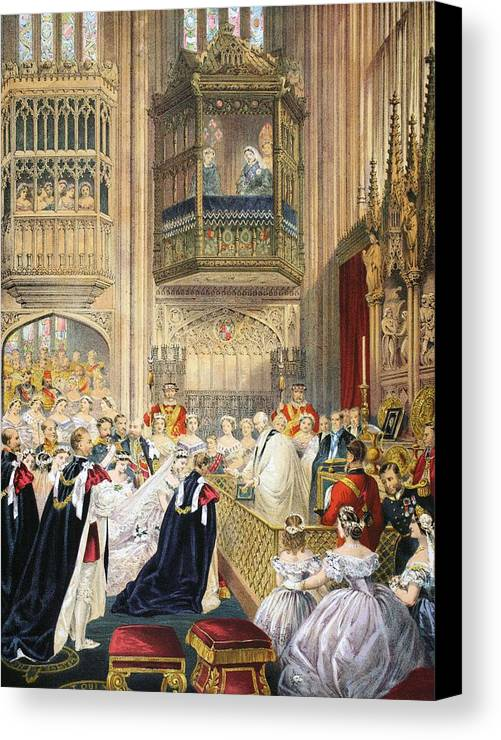 St George's Chapel Canvas Print featuring the drawing The Marriage At St Georges Chapel by English School