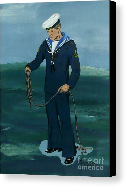 Sailor Canvas Print featuring the painting The Sailor by Anthony Dunphy