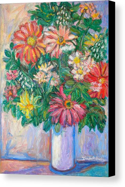 Still Life Canvas Print featuring the painting The White Vase by Kendall Kessler