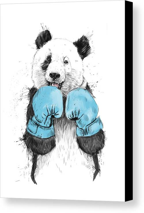 Panda Canvas Print featuring the drawing The Winner by Balazs Solti