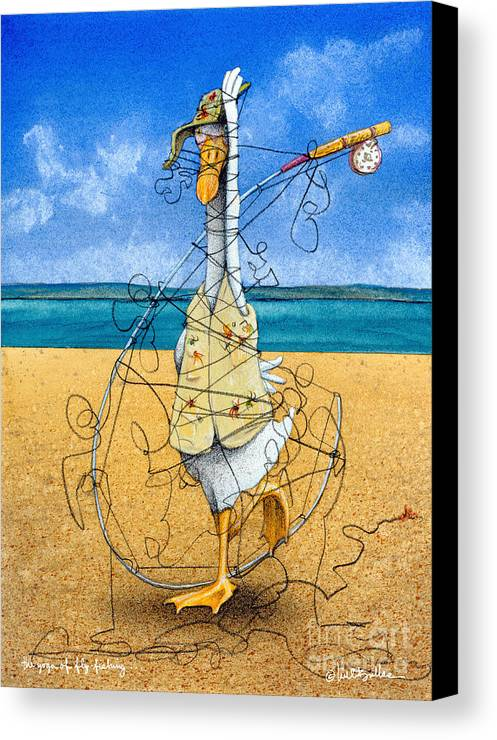Will Bullas Canvas Print featuring the painting The Yoga Of Fly Fishing... by Will Bullas