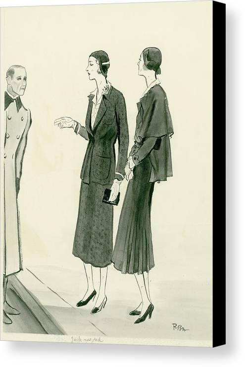 Designer Canvas Print featuring the digital art Two Women Wearing A Chanel Jersey Suit by Rene Bouet-Willaumez