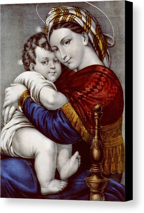 Art Canvas Print featuring the painting Virgin And Child Circa 1856 by Aged Pixel