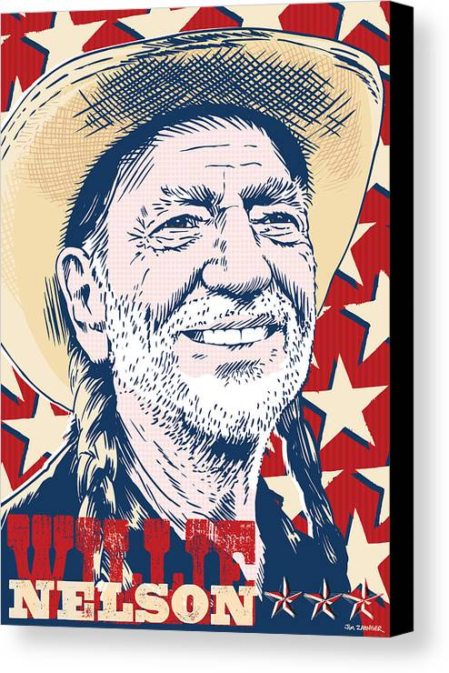 Music Canvas Print featuring the digital art Willie Nelson Pop Art by Jim Zahniser
