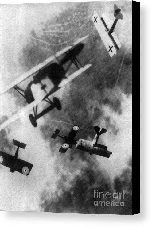 Technology Canvas Print featuring the photograph Wwi German British Dogfight by Nypl
