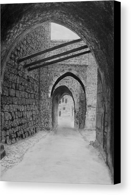 Jerusalem Canvas Print featuring the drawing Jerusalem Old Street by Marwan Hasna - Art Beat