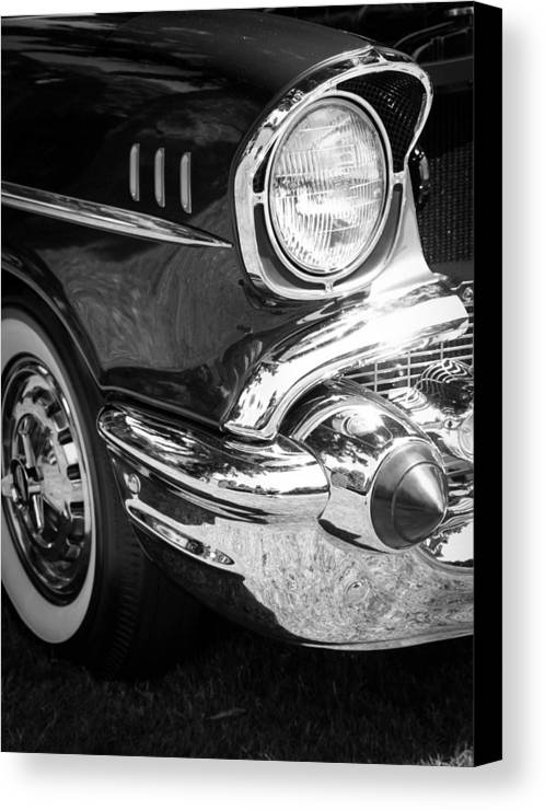 Black And White Canvas Print featuring the photograph 57 Chevy Black by Steve McKinzie
