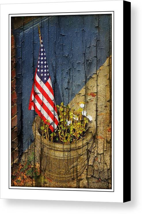 American Flag Canvas Print featuring the photograph American Flag In Flower Pot - 1 by Larry Mulvehill
