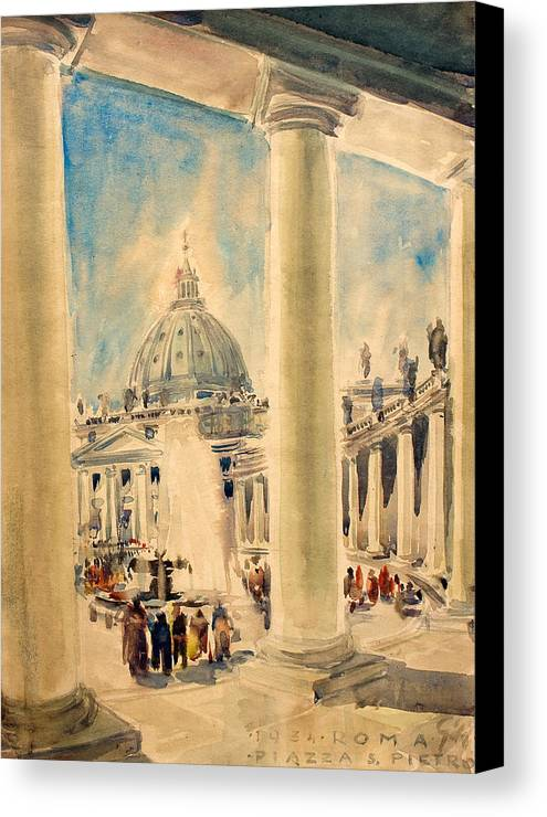 Crease Canvas Print featuring the painting Basilica In Italy by Odon Czintos