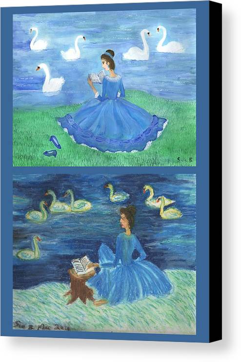 Swans Canvas Print featuring the painting Both Swan Lake Readers by Sushila Burgess