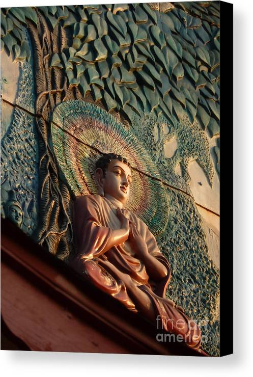 Leaf Canvas Print featuring the photograph Buddha Relief by Angela Wright