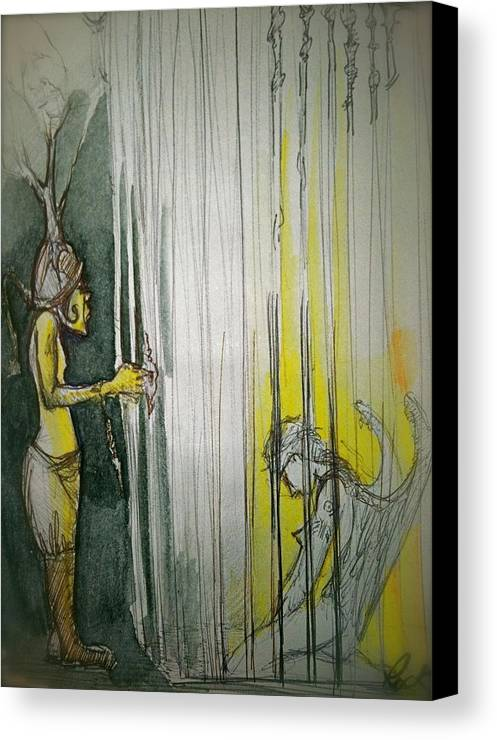 Angel Demon Cage Trapped Boots Caged Canvas Print featuring the drawing Caged Creature Of God by Jackie Rock