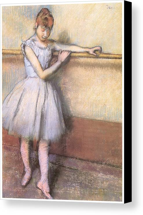 Dancer At The Bar Canvas Print featuring the pastel Dancer At The Bar by Edgar Degas