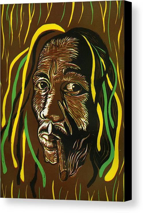 Bob Marley Canvas Print featuring the mixed media Pass It Bob by Jason Pickens