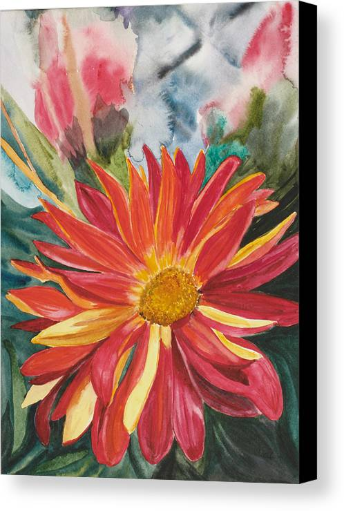 Flower Canvas Print featuring the painting Red Red Red by Judy Loper