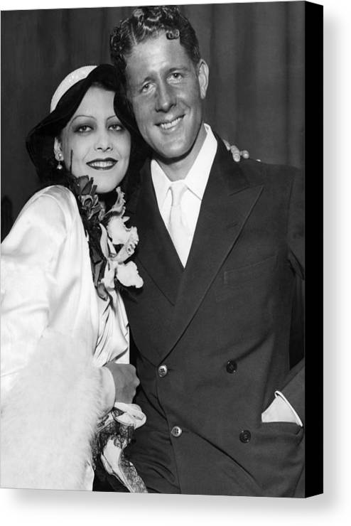 1930s Canvas Print featuring the photograph Rudy Vallee Right, And His Wife, Fay by Everett